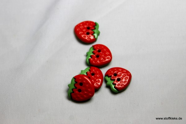 5 Knöpfe | Kunststoff | Erdbeere | 1,3 x 1,3 cm