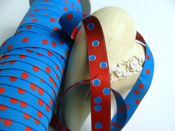 Webband | Punkte blau/rot