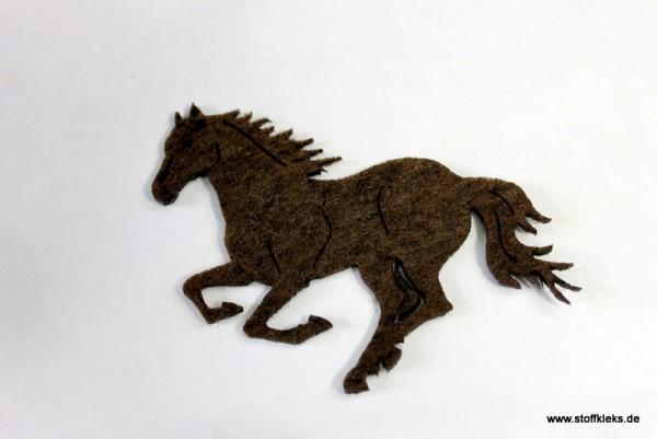 Filzapplikation | Pferd | dunkelbraun