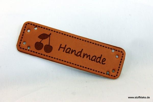 Label | Applikation | Lederimitat | 5x Kirschen handmade