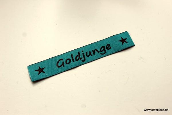 Applikation | Label | Goldjunge | petrol mit braun | 1,5 cm