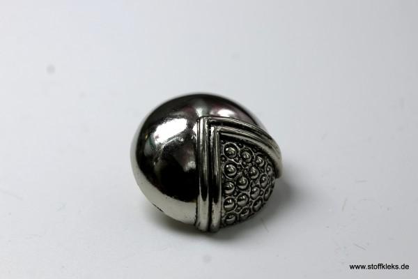 Knopf | Kunststoff | einviertel | silber | 2,3 cm