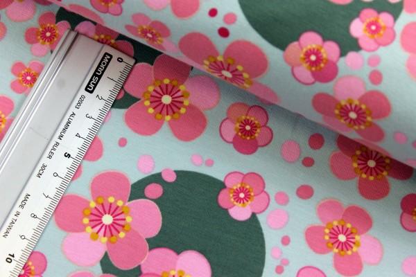 Jersey   bedruckt   Blumen und Kreise   mint