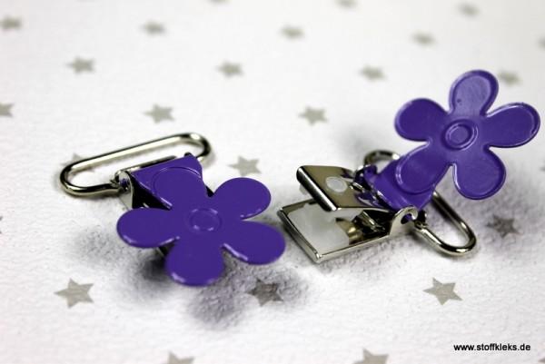 Applikation & Co   Metallclips   Blume   blau