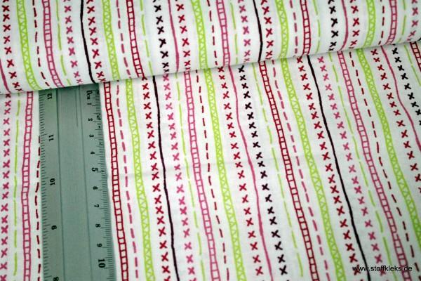 Baumwolle | bedruckt | stiches | weiß-rosa