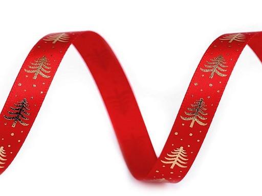 Band | bedruckt | Christmas tree | rot | 1cm