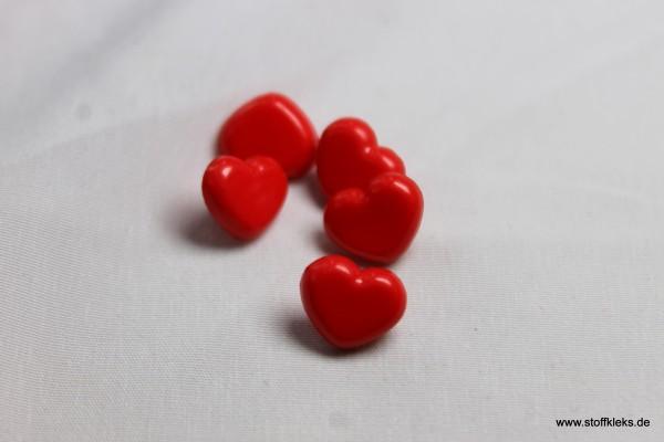 5 Knöpfe   Kunststoff   Herzilein   0,9 x 0,7 cm