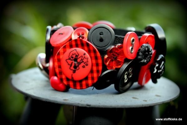 Knopfarmband - Set zum Selbermachen | rot/schwarz