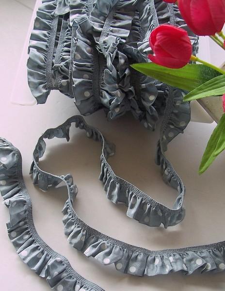 Rüschenband | Elastisch | 25mm | Punkte | grau/weiß