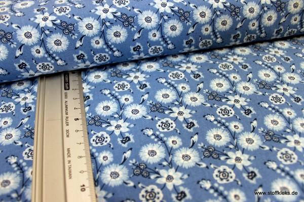 Baumwolle | bedruckt | Eyelike | Hindelopia | Flora | blau