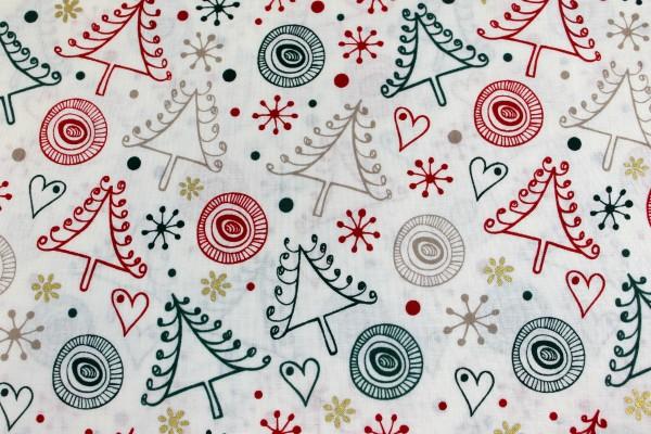 Baumwolle | bedruckt | crazy christmas tree | weiss
