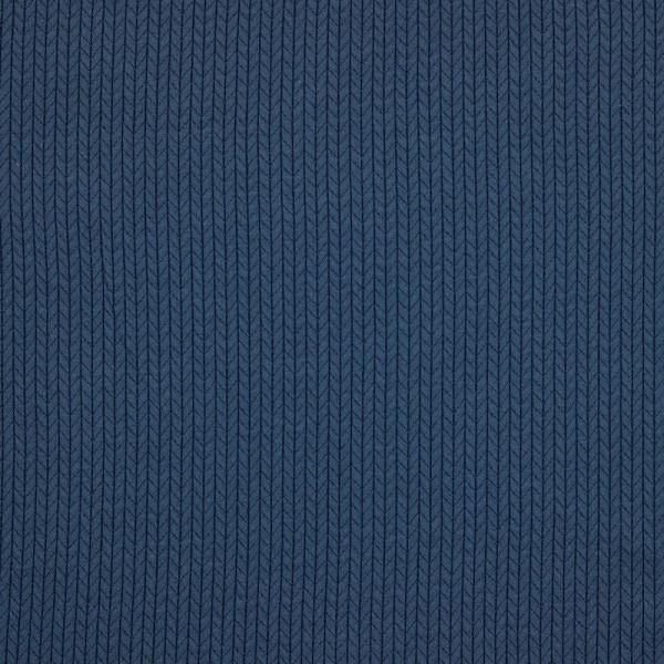 Jersey | bedruckt | recycelte Baumwolle | Strickmuster | Jeansblau