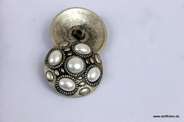 Knopf | Metall | Perle | 2,8cm | antiksilber