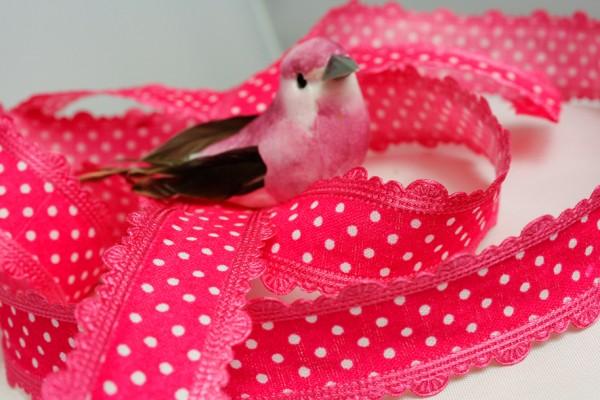 Satinband mit Bordüre | bedruckt |pink/weiss