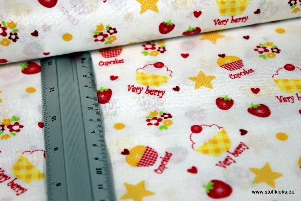 Baumwolle   bedruckt   Very berry Cupcake   weiß