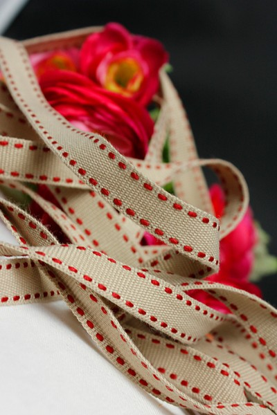 Ripsband | beige/rot