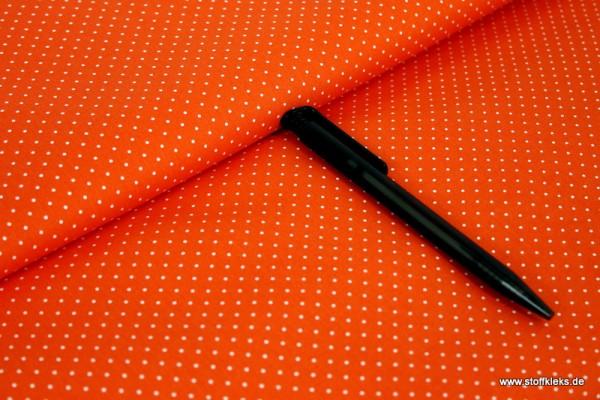 Baumwolle | bedruckt | 1mm Punkte | orange/weiss