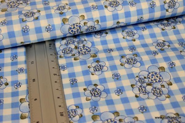 Baumwolle | bedruckt | Blumentracht | weiß/blau