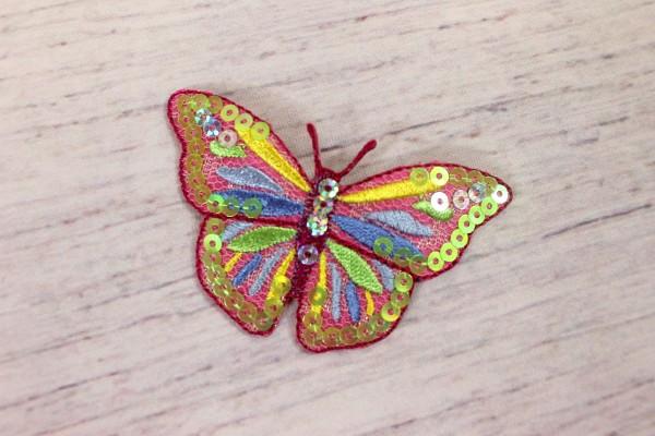 Applikation | Schmetterling mit Pailletten | bunt