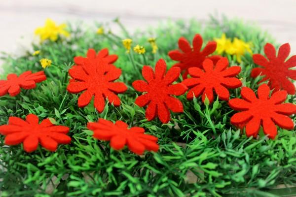 Filzapplikation   Blume   rot   3cm
