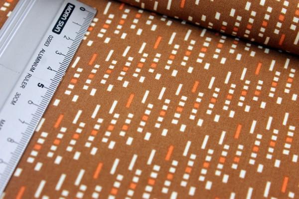 Viskose | bedruckt | Punkt, Komma, Strich | braun/orange