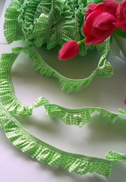 Rüschenband | Elastisch | 25mm | Vichy | grün/weiß