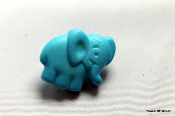 Knopf | Kunststoff | Elefant | hellblau | Öse | 1,6 x 1,3 cm