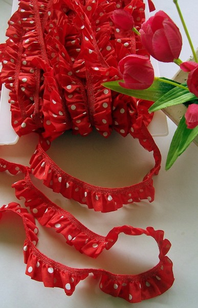 Rüschenband | Elastisch | 25mm | Punkte | rot/weiß