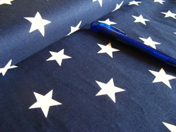 beschichtete Baumwolle / Wachstuchstück | 3cm Sterne | dunkelblau/weiss