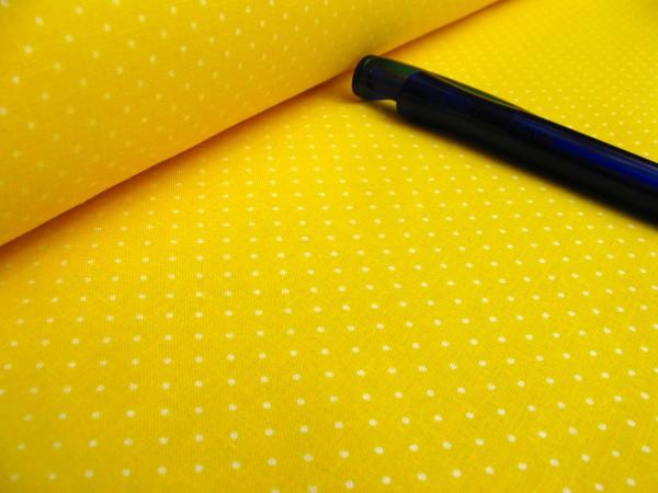 Baumwolle | bedruckt | 1mm Punkte | gelb/weiss