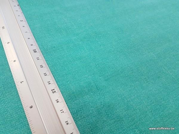 beschichtete Baumwolle / Wachstuchstück | Uni | gedruckte Leinenstruktur | hellpetrol