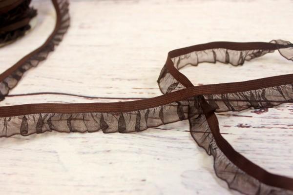 Rüschenband   elastisch   2,5cm   dunkelbraun