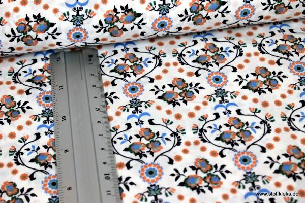 Baumwolle | bedruckt | floraler Vintage | weiß