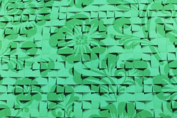 Jersey   bedruckt   Würfelblume   grün