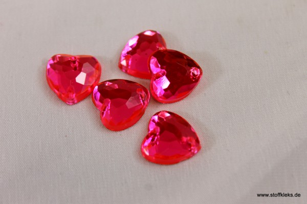 5 Knöpfe | Herz | Kristall | pink | 1 x 1cm