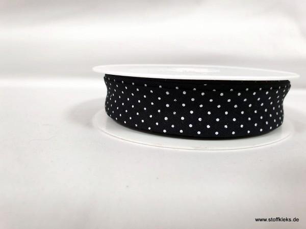 Schrägband/Einfassband | 20mm | Baumwolle | Pünktchen schwarz/weiss | 3m