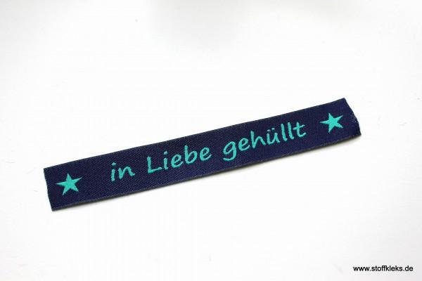 Applikation   Label   in Liebe gehüllt   dunkelblau mit petrol   1,5 cm