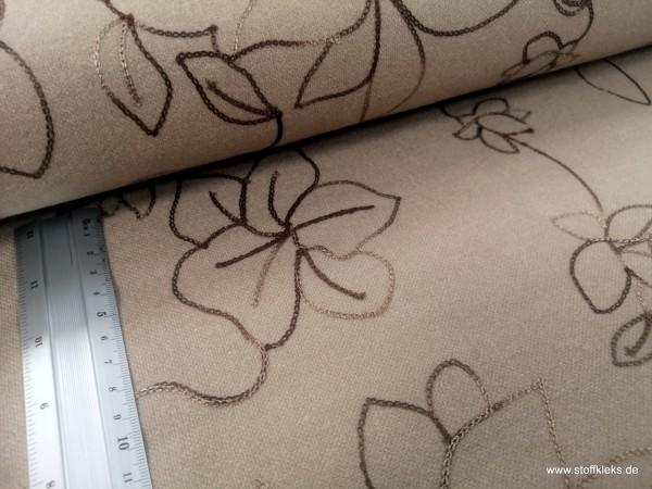 Vikose | bestickt | Blumen | beige