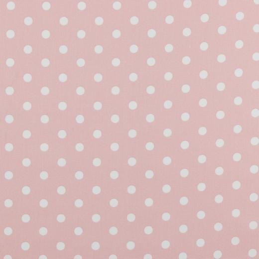 Baumwolle | bedruckt | 8mm Punkte | hellrosa/weiss