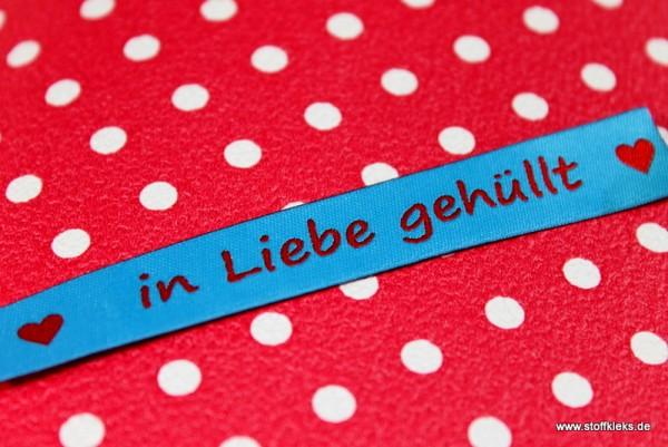 Applikation | Label | in Liebe gehüllt | blau