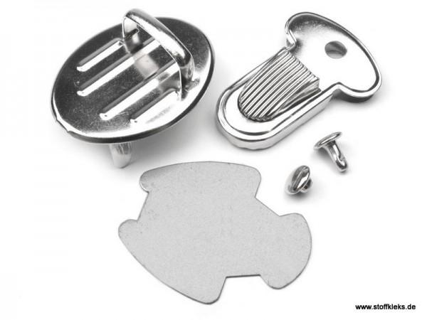 2 Steckschlösser / Mappenschloss | 25 x 32 mm | silber